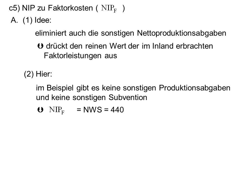 c5) NIP zu Faktorkosten ( ) A. (1) Idee: drückt den reinen Wert der im Inland erbrachten Faktorleistungen aus eliminiert auch die sonstigen Nettoprodu