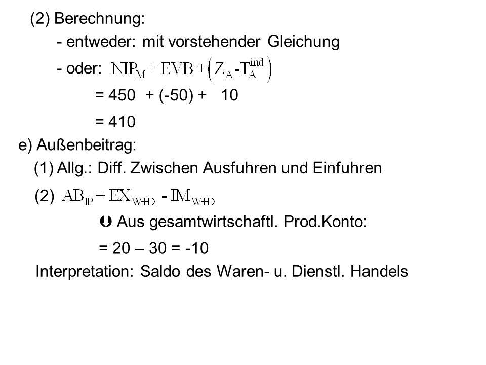 (2) Berechnung: = 450 + (-50) + 10 = 410 - entweder: mit vorstehender Gleichung - oder: e) Außenbeitrag: (1) Allg.: Diff. Zwischen Ausfuhren und Einfu