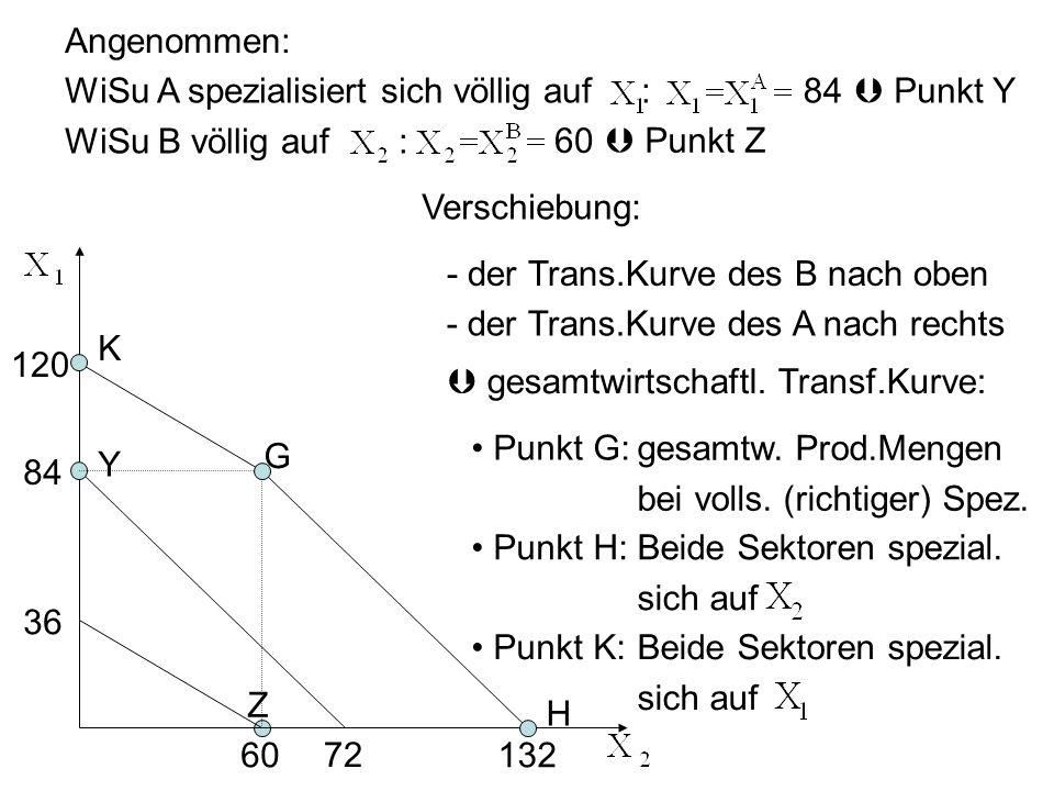 Angenommen: WiSu A spezialisiert sich völlig auf : WiSu B völlig auf : 84 60 Punkt Y Punkt Z 84 72 Z Y 60 36 Verschiebung: - der Trans.Kurve des B nac