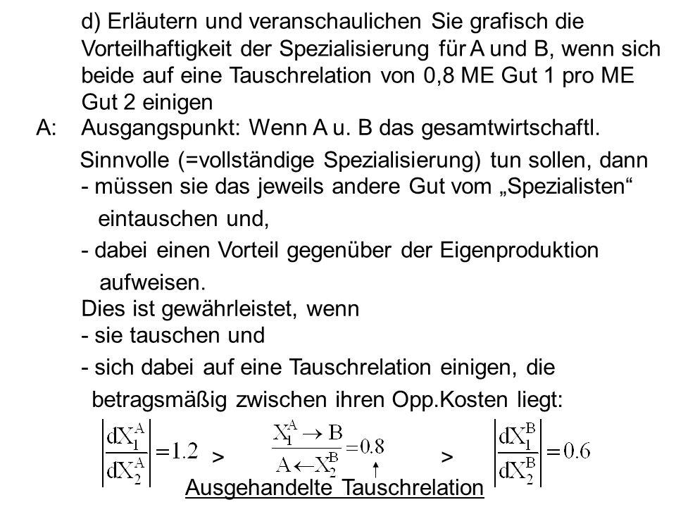 d) Erläutern und veranschaulichen Sie grafisch die Vorteilhaftigkeit der Spezialisierung für A und B, wenn sich beide auf eine Tauschrelation von 0,8