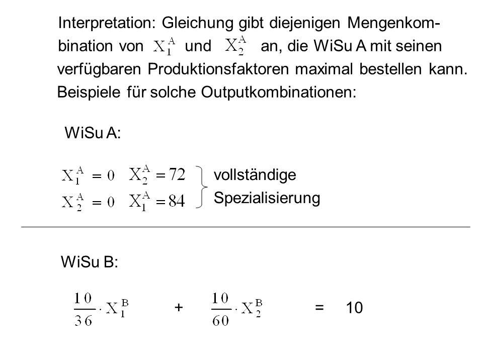 Interpretation: Gleichung gibt diejenigen Mengenkom- bination von und an, die WiSu A mit seinen verfügbaren Produktionsfaktoren maximal bestellen kann