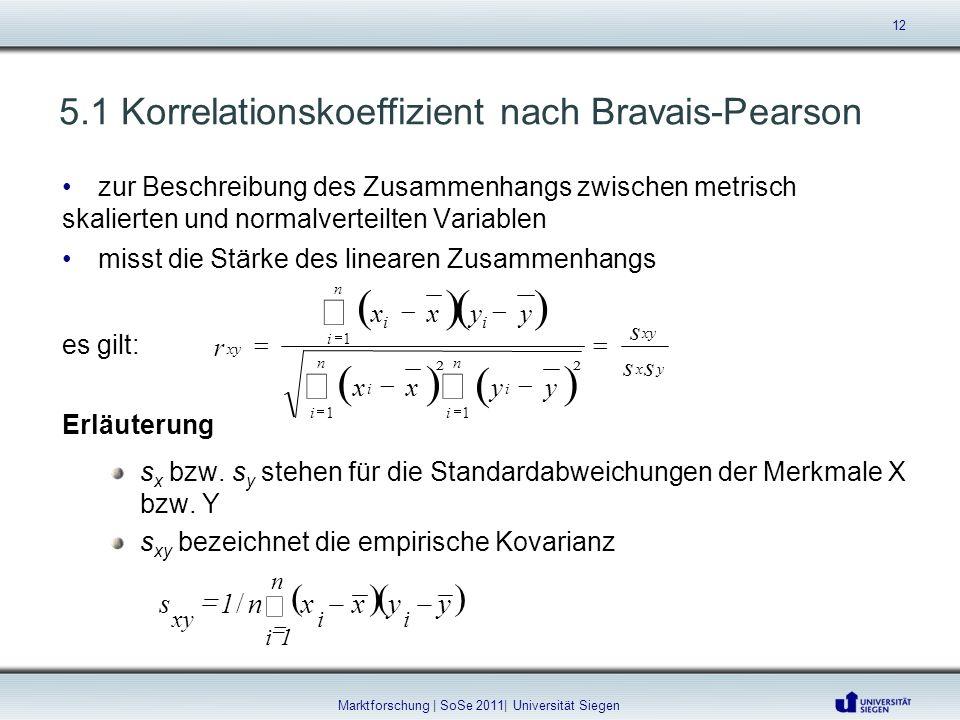 5.1 Korrelationskoeffizient nach Bravais-Pearson 12 Marktforschung | SoSe 2011| Universität Siegen zur Beschreibung des Zusammenhangs zwischen metrisc