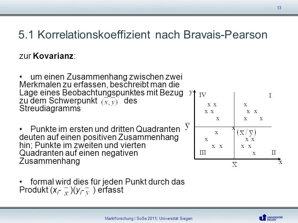 5.1 Korrelationskoeffizient nach Bravais-Pearson zur Kovarianz: um einen Zusammenhang zwischen zwei Merkmalen zu erfassen, beschreibt man die Lage ein