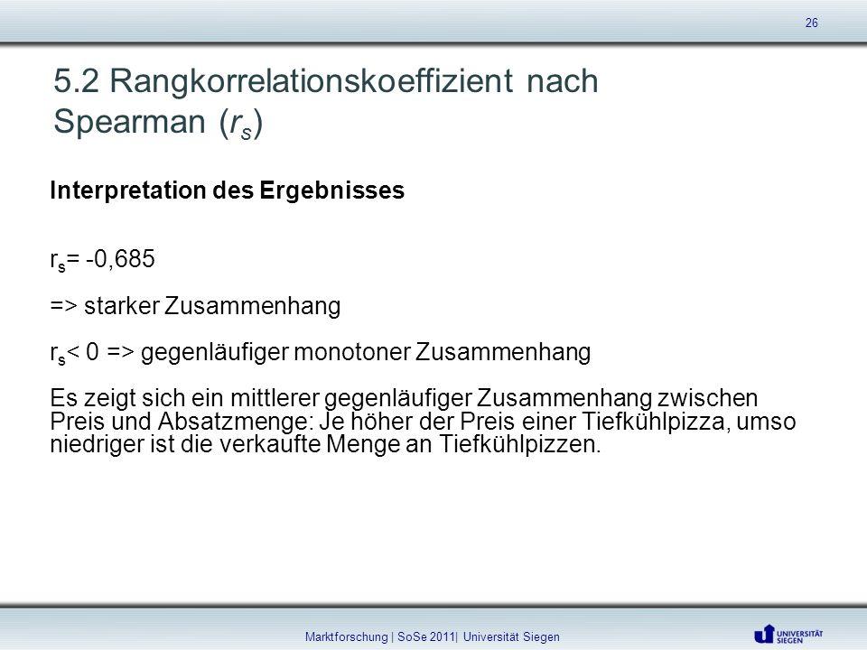 5.2 Rangkorrelationskoeffizient nach Spearman (r s ) Interpretation des Ergebnisses r s = -0,685 => starker Zusammenhang r s gegenläufiger monotoner Z