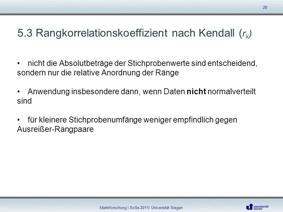 5.3 Rangkorrelationskoeffizient nach Kendall ( r k ) nicht die Absolutbeträge der Stichprobenwerte sind entscheidend, sondern nur die relative Anordnu