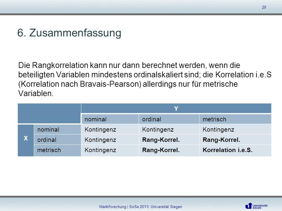 6. Zusammenfassung Y nominalordinalmetrisch X nominalKontingenz ordinalKontingenzRang-Korrel. metrischKontingenzRang-Korrel.Korrelation i.e.S. 29 Mark