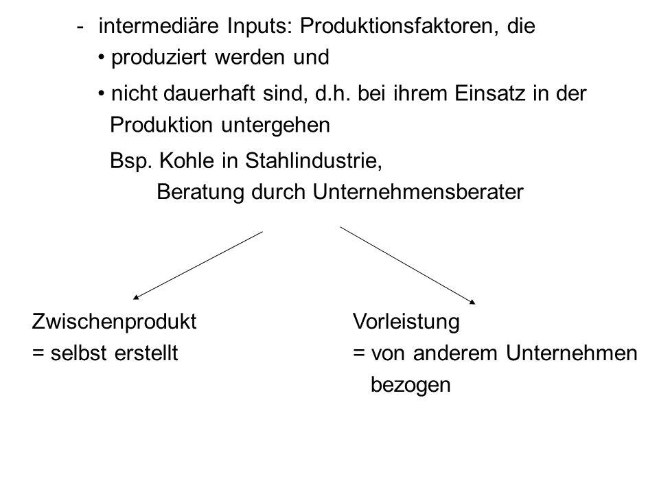 -intermediäre Inputs:Produktionsfaktoren, die produziert werden und nicht dauerhaft sind, d.h. bei ihrem Einsatz in der Produktion untergehen Bsp. Koh