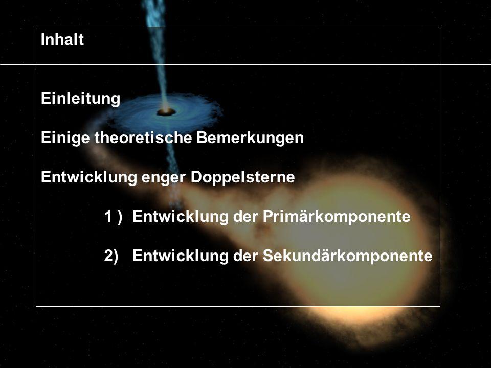 Grundzüge der Entwicklung Wechselwirkung von engen Doppelsternen, wenn eine Komponente sich von HR wegentwickelt: bereits bevor Stern 1 seine Roche-Fläche ausfüllt: - Aufheizung des kühleren HR-Begleiters, - Inititieren von Oberflächenaktivität (mögliche Ursache für starke Röntgen- & Radioemissionen der RS CVn Veränderlichen) erreicht Stern 1 seine Roche-Fläche: - erst Phase mit großen Massenstrom durch L 1 in relativ kurzer Zeit ( t HK ) bis M 1 M 2 - dann: Phase mit Phase mit langsameren Gasstrom ( t n ) Aus Niel Brandt Astronomievorlesung Pennsylvania State University