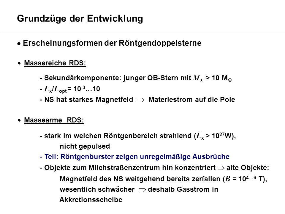 Grundzüge der Entwicklung Erscheinungsformen der Röntgendoppelsterne Massereiche RDS: - Sekundärkomponente: junger OB-Stern mit M > 10 M - L x / L opt