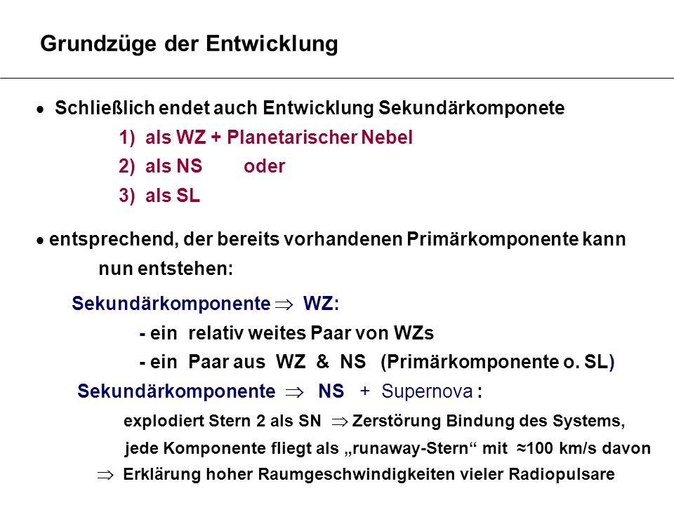 Grundzüge der Entwicklung Schließlich endet auch Entwicklung Sekundärkomponete 1) als WZ + Planetarischer Nebel 2) als NS oder 3) als SL entsprechend,