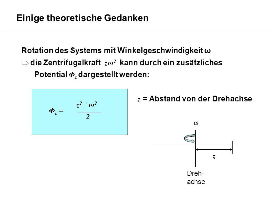 Rotation des Systems mit Winkelgeschwindigkeit ω die Zentrifugalkraft zω 2 kann durch ein zusätzliches Potential Φ z dargestellt werden: z = Abstand v
