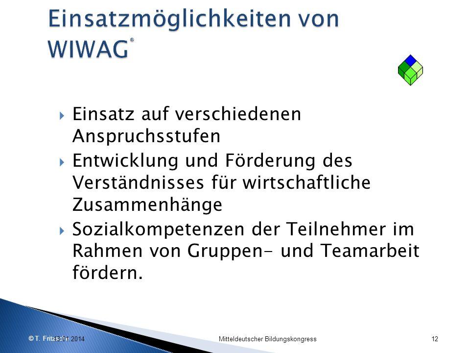 © T. Fritzsche Einsatz auf verschiedenen Anspruchsstufen Entwicklung und Förderung des Verständnisses für wirtschaftliche Zusammenhänge Sozialkompeten