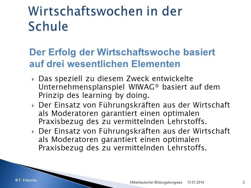 © T. Fritzsche Das speziell zu diesem Zweck entwickelte Unternehmensplanspiel WIWAG® basiert auf dem Prinzip des learning by doing. Der Einsatz von Fü