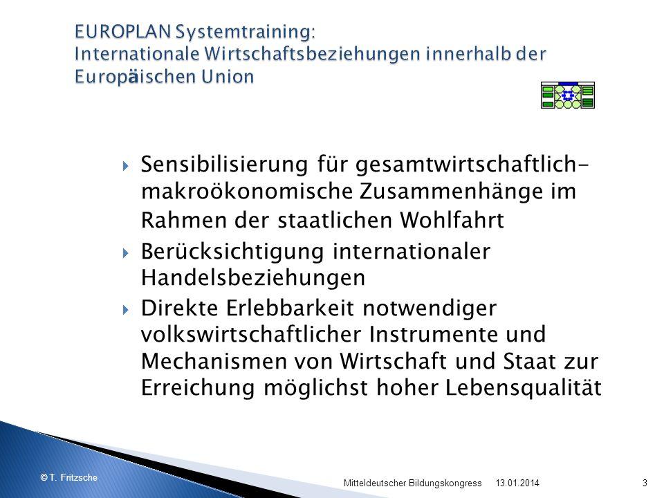 © T. Fritzsche 13.01.2014Mitteldeutscher Bildungskongress3 Sensibilisierung für gesamtwirtschaftlich- makroökonomische Zusammenhänge im Rahmen der sta