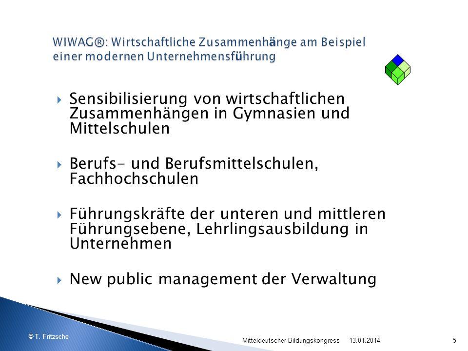 © T. Fritzsche Sensibilisierung von wirtschaftlichen Zusammenhängen in Gymnasien und Mittelschulen Berufs- und Berufsmittelschulen, Fachhochschulen Fü