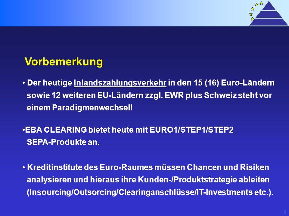 8 Vorbemerkung Der heutige Inlandszahlungsverkehr in den 15 (16) Euro-Ländern sowie 12 weiteren EU-Ländern zzgl. EWR plus Schweiz steht vor einem Para