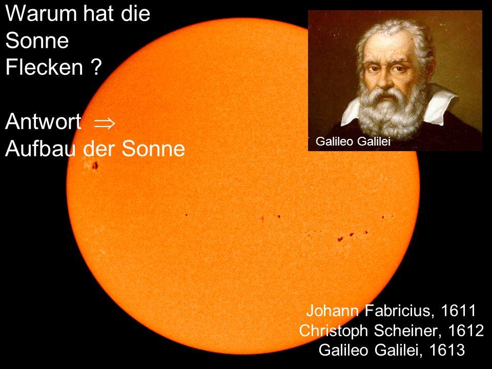 Johann Fabricius, 1611 Christoph Scheiner, 1612 Galileo Galilei, 1613 Galileo Galilei Warum hat die Sonne Flecken .