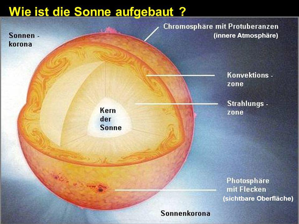 Wie ist die Sonne aufgebaut ? (sichtbare Oberfläche) (innere Atmosphäre)