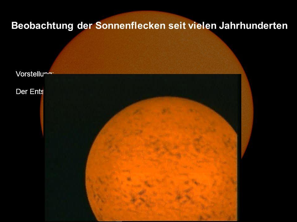 Vorstellung: Der Entstehung der Flecken und des Sonnenzyklus Beobachtung der Sonnenflecken seit vielen Jahrhunderten