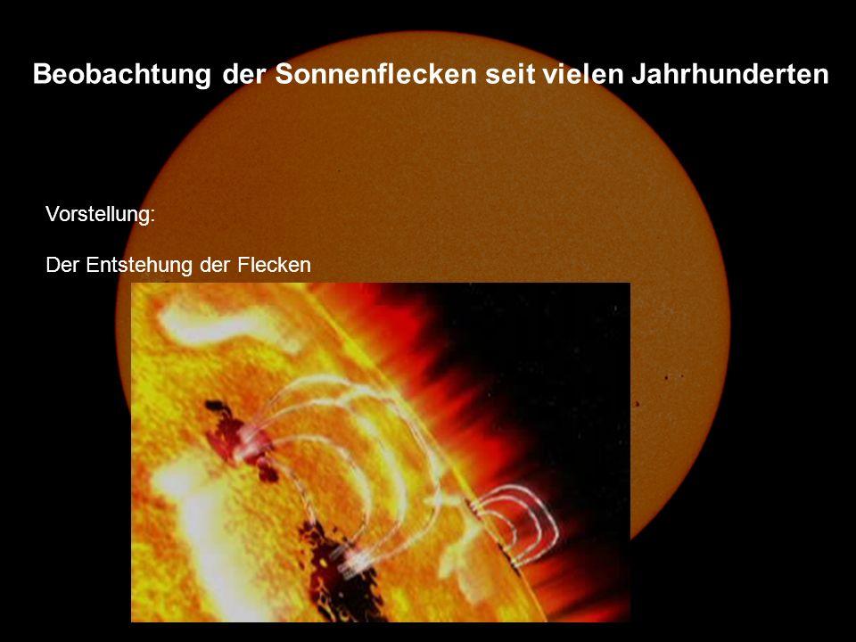 Vorstellung: Der Entstehung der Flecken Beobachtung der Sonnenflecken seit vielen Jahrhunderten