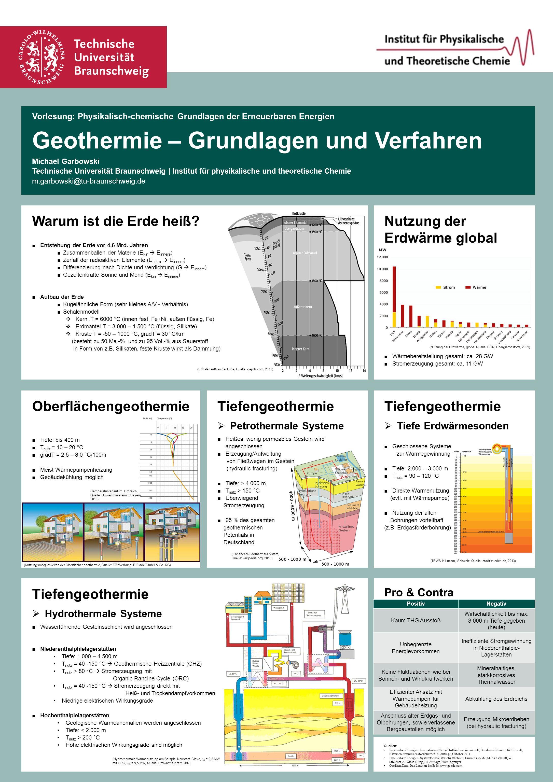 Vorlesung: Physikalisch-chemische Grundlagen der Erneuerbaren Energien Geothermie – Grundlagen und Verfahren Michael Garbowski Technische Universität