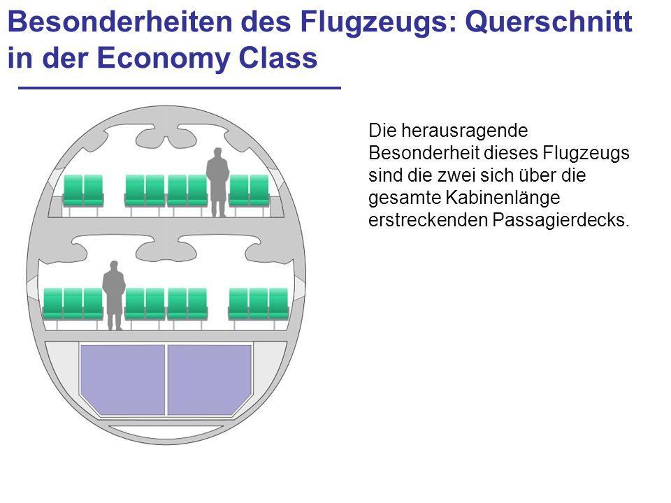Besonderheiten des Flugzeugs: Querschnitt in der Economy Class Die herausragende Besonderheit dieses Flugzeugs sind die zwei sich über die gesamte Kab