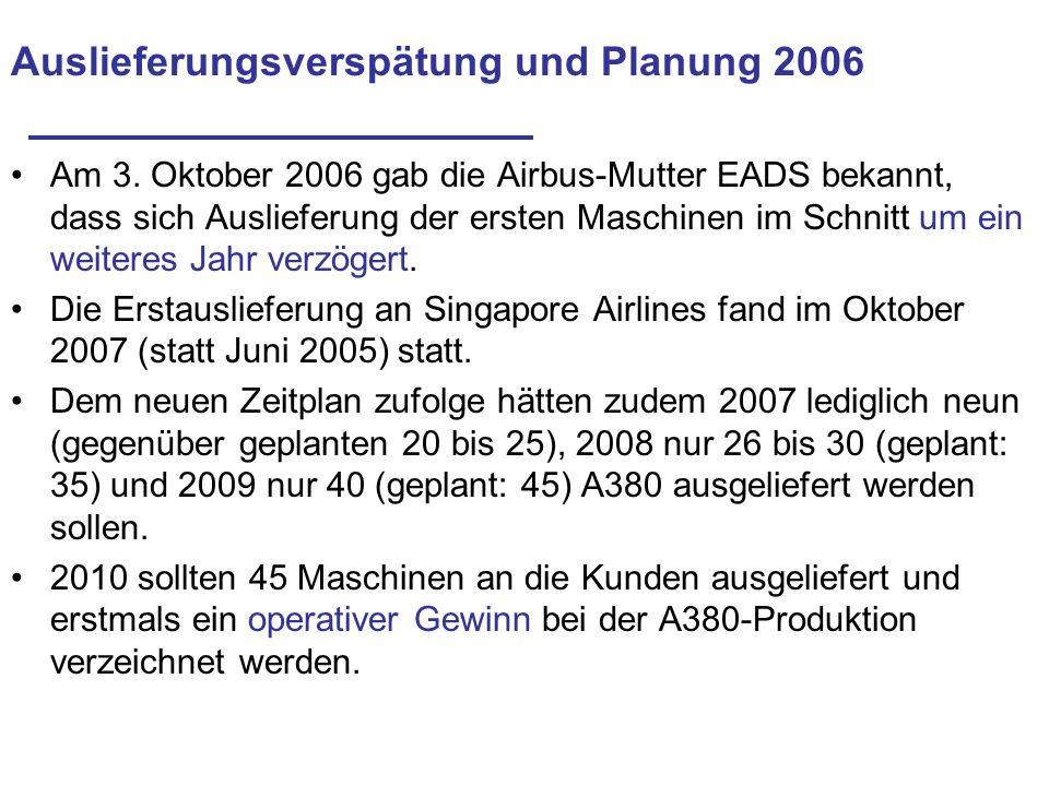 Auslieferungsverspätung und Planung 2006 Am 3. Oktober 2006 gab die Airbus-Mutter EADS bekannt, dass sich Auslieferung der ersten Maschinen im Schnitt
