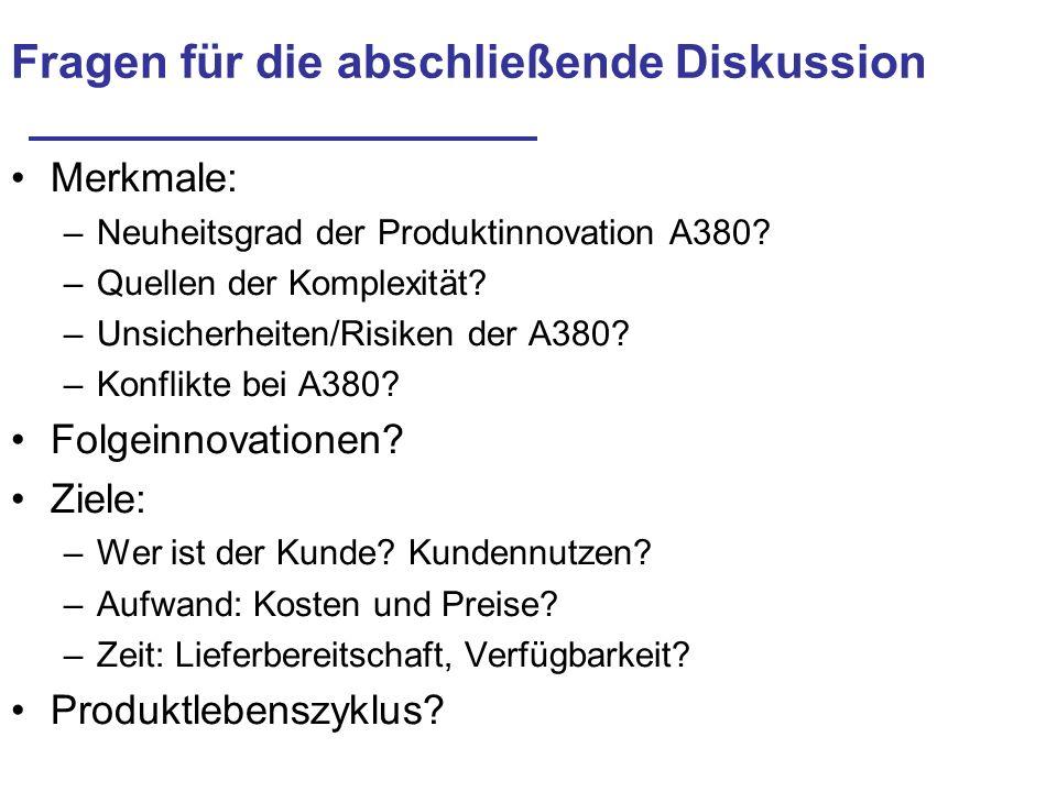 Fragen für die abschließende Diskussion Merkmale: –Neuheitsgrad der Produktinnovation A380? –Quellen der Komplexität? –Unsicherheiten/Risiken der A380