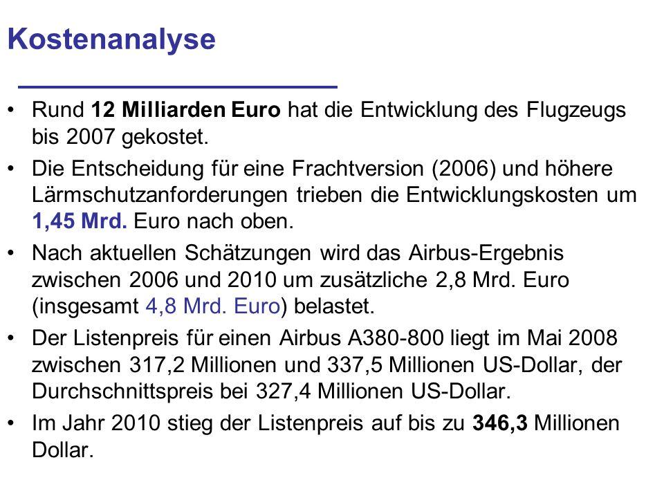 Kostenanalyse Rund 12 Milliarden Euro hat die Entwicklung des Flugzeugs bis 2007 gekostet. Die Entscheidung für eine Frachtversion (2006) und höhere L