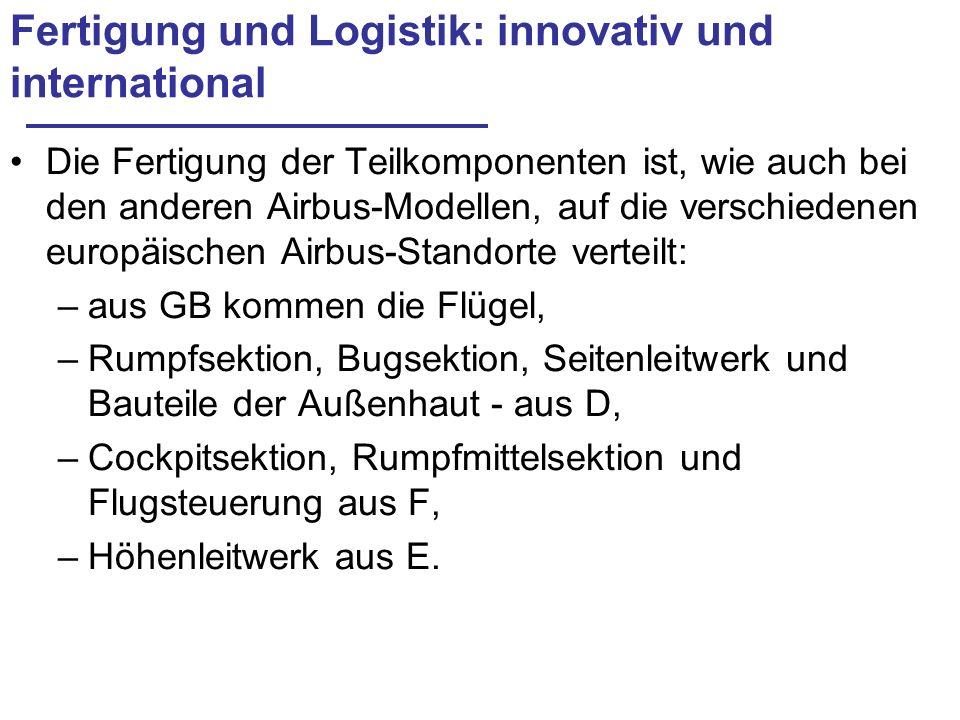 Fertigung und Logistik: innovativ und international Die Fertigung der Teilkomponenten ist, wie auch bei den anderen Airbus-Modellen, auf die verschied