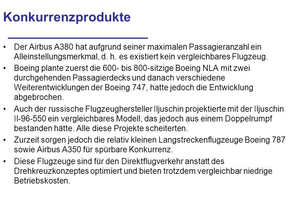 Konkurrenzprodukte Der Airbus A380 hat aufgrund seiner maximalen Passagieranzahl ein Alleinstellungsmerkmal, d. h. es existiert kein vergleichbares Fl