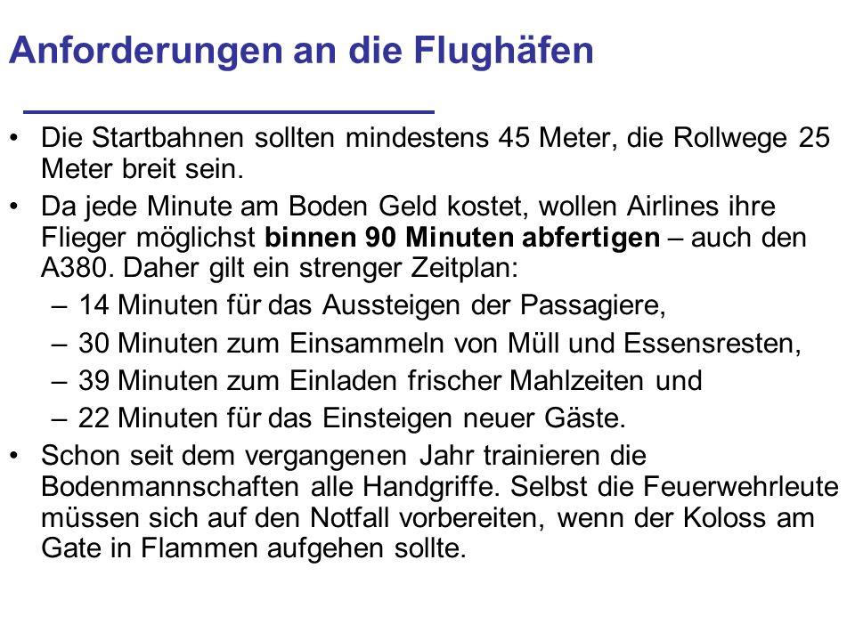 Anforderungen an die Flughäfen Die Startbahnen sollten mindestens 45 Meter, die Rollwege 25 Meter breit sein. Da jede Minute am Boden Geld kostet, wol