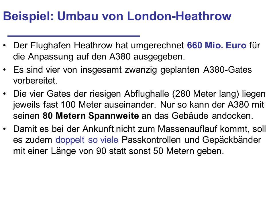 Beispiel: Umbau von London-Heathrow Der Flughafen Heathrow hat umgerechnet 660 Mio. Euro für die Anpassung auf den A380 ausgegeben. Es sind vier von i