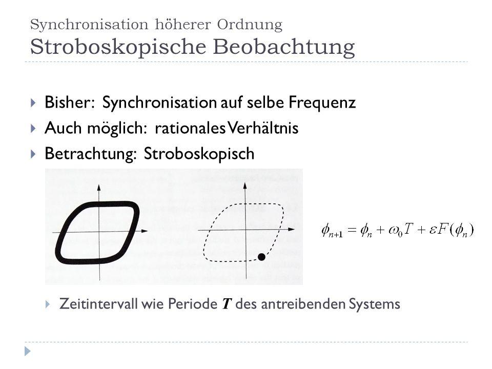 Synchronisation höherer Ordnung Stroboskopische Beobachtung Bisher: Synchronisation auf selbe Frequenz Auch möglich: rationales Verhältnis Betrachtung: Stroboskopisch Zeitintervall wie Periode T des antreibenden Systems