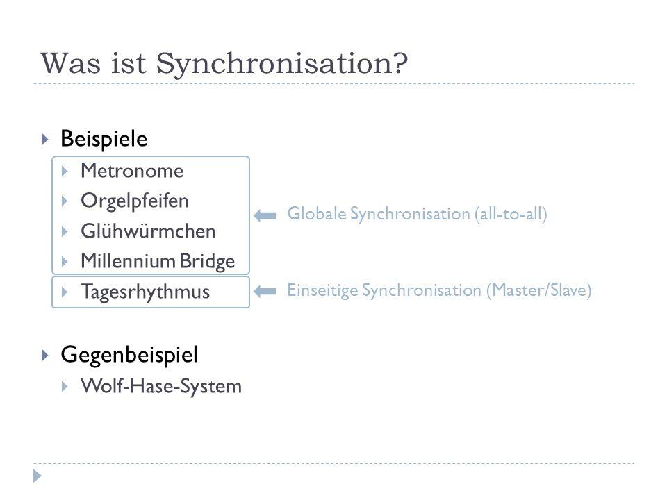 Beispiele Metronome Orgelpfeifen Glühwürmchen Millennium Bridge Tagesrhythmus Gegenbeispiel Wolf-Hase-System Was ist Synchronisation.