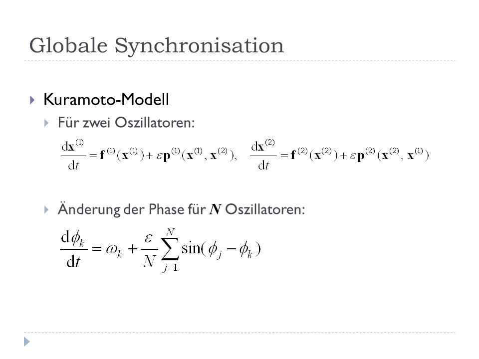 Globale Synchronisation Kuramoto-Modell Für zwei Oszillatoren: Änderung der Phase für N Oszillatoren: