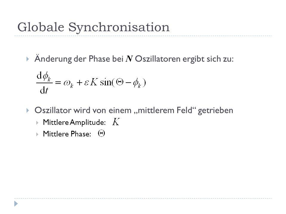 Globale Synchronisation Änderung der Phase bei N Oszillatoren ergibt sich zu: Oszillator wird von einem mittlerem Feld getrieben Mittlere Amplitude: Mittlere Phase: