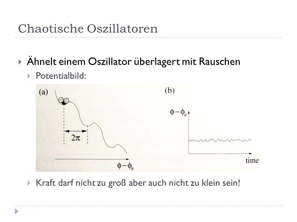 Chaotische Oszillatoren Ähnelt einem Oszillator überlagert mit Rauschen Potentialbild: Kraft darf nicht zu groß aber auch nicht zu klein sein!
