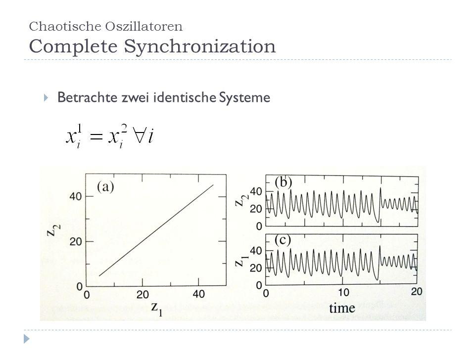 Chaotische Oszillatoren Complete Synchronization Betrachte zwei identische Systeme