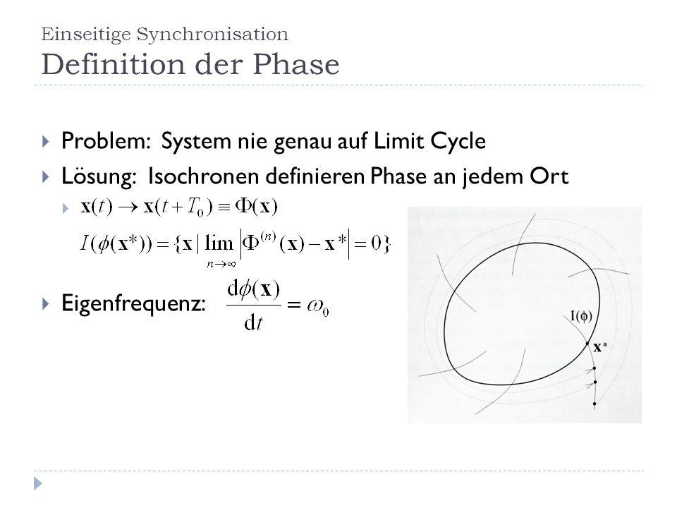 Einseitige Synchronisation Definition der Phase Problem: System nie genau auf Limit Cycle Lösung: Isochronen definieren Phase an jedem Ort Eigenfrequenz: