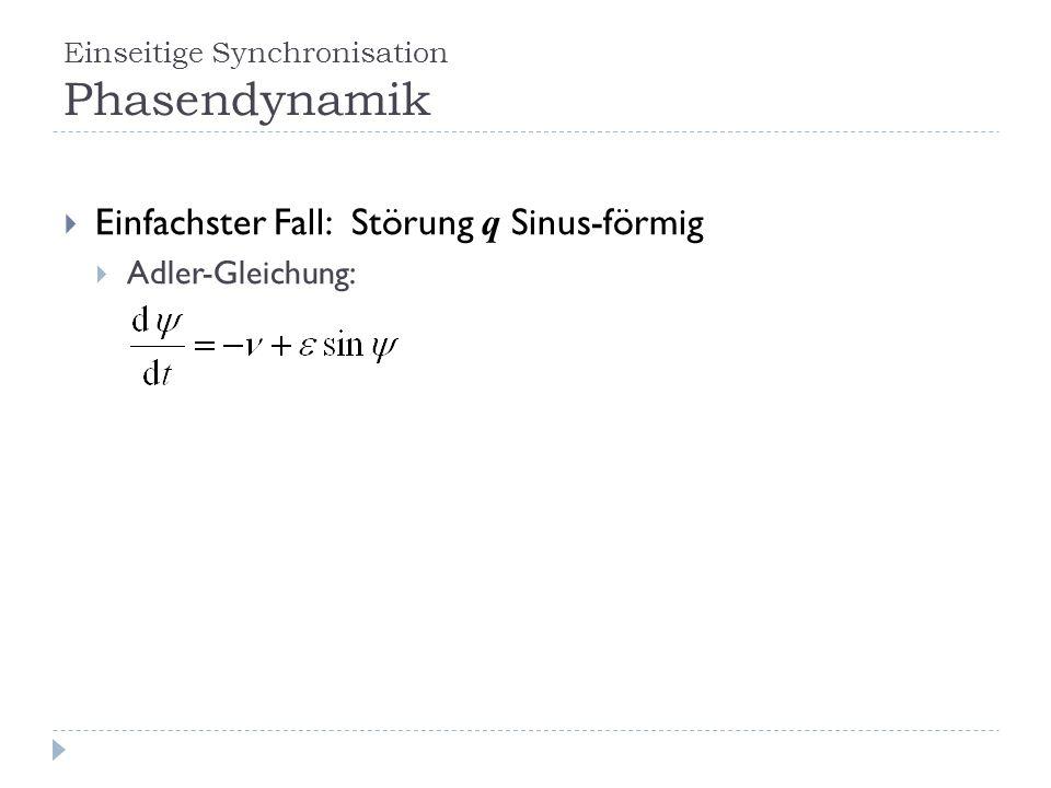 Einseitige Synchronisation Phasendynamik Einfachster Fall: Störung q Sinus-förmig Adler-Gleichung: