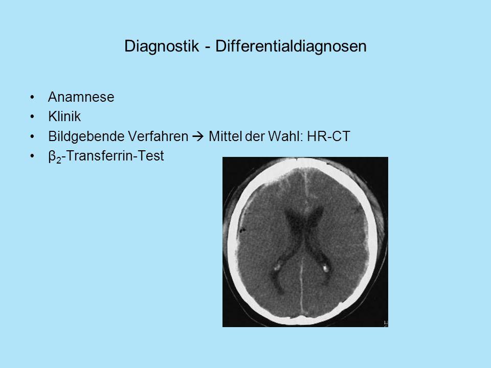 Diagnostik - Differentialdiagnosen Anamnese Klinik Bildgebende Verfahren Mittel der Wahl: HR-CT β 2 -Transferrin-Test