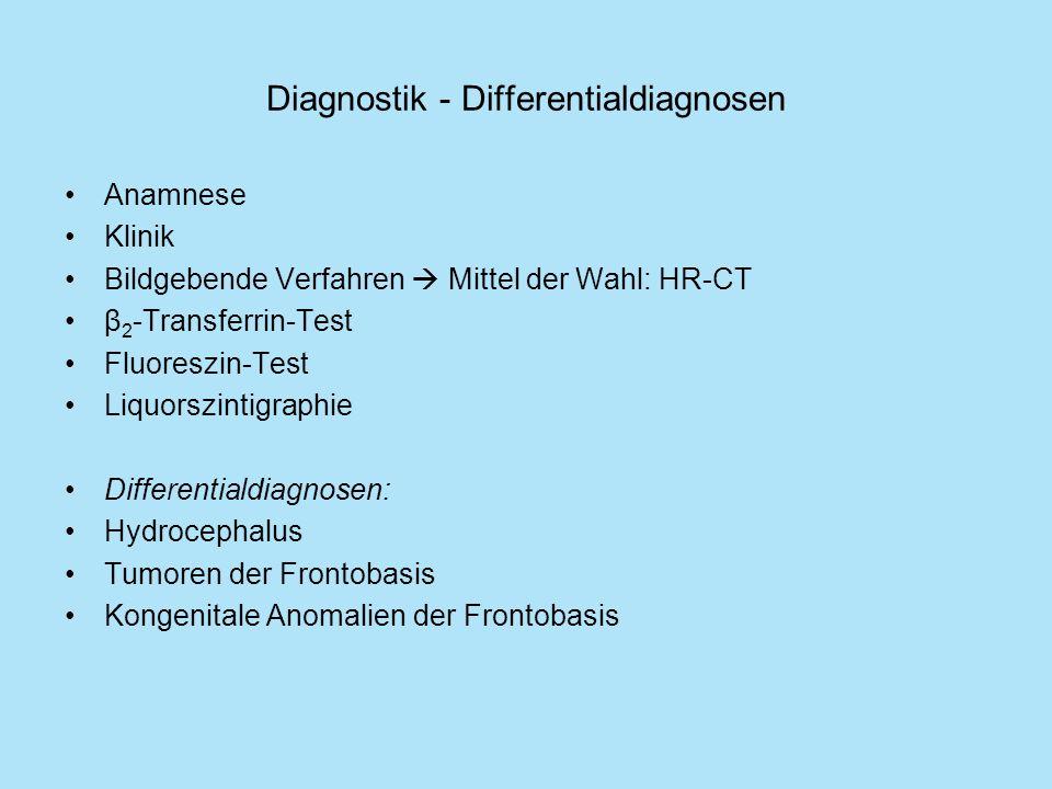 Diagnostik - Differentialdiagnosen Anamnese Klinik Bildgebende Verfahren Mittel der Wahl: HR-CT β 2 -Transferrin-Test Fluoreszin-Test Liquorszintigrap