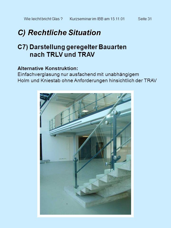 Wie leicht bricht Glas ?Kurzseminar im IBB am 15.11.01Seite 32 C) Rechtliche Situation C7) Betretbare bzw.