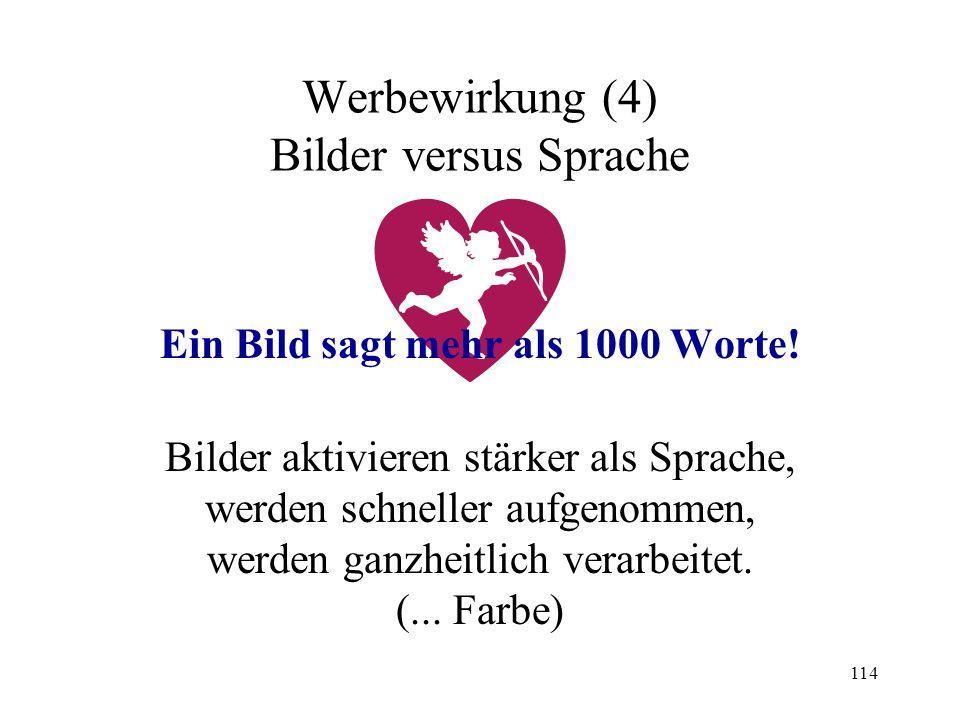 114 Werbewirkung (4) Bilder versus Sprache Ein Bild sagt mehr als 1000 Worte! Bilder aktivieren stärker als Sprache, werden schneller aufgenommen, wer