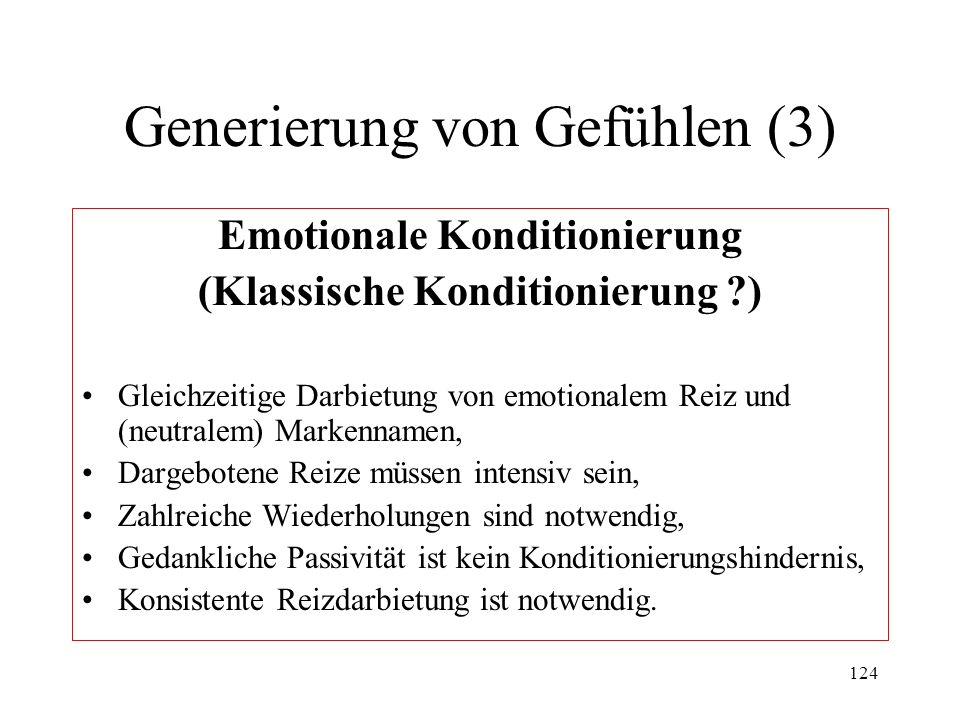 124 Generierung von Gefühlen (3) Emotionale Konditionierung (Klassische Konditionierung ?) Gleichzeitige Darbietung von emotionalem Reiz und (neutrale