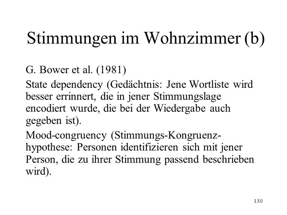 130 Stimmungen im Wohnzimmer (b) G. Bower et al. (1981) State dependency (Gedächtnis: Jene Wortliste wird besser errinnert, die in jener Stimmungslage