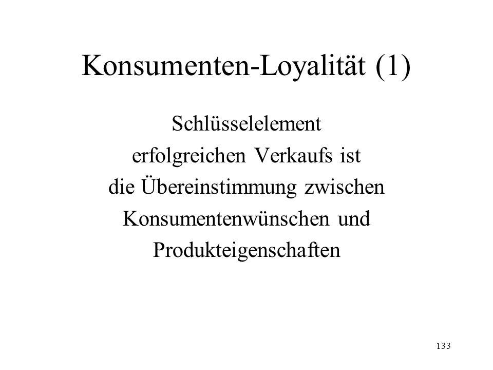 133 Konsumenten-Loyalität (1) Schlüsselelement erfolgreichen Verkaufs ist die Übereinstimmung zwischen Konsumentenwünschen und Produkteigenschaften