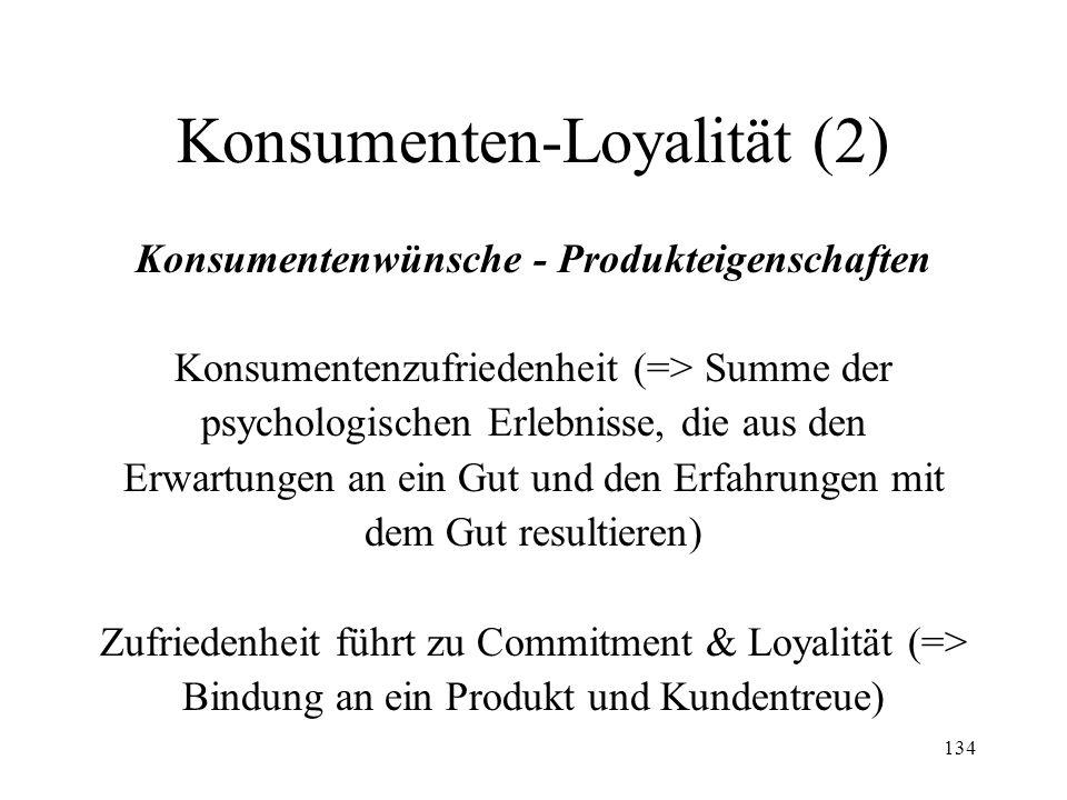 134 Konsumenten-Loyalität (2) Konsumentenwünsche - Produkteigenschaften Konsumentenzufriedenheit (=> Summe der psychologischen Erlebnisse, die aus den