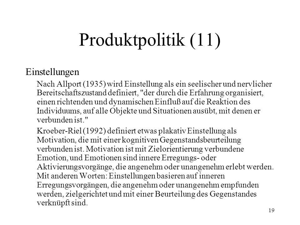 19 Produktpolitik (11) Einstellungen Nach Allport (1935) wird Einstellung als ein seelischer und nervlicher Bereitschaftszustand definiert,